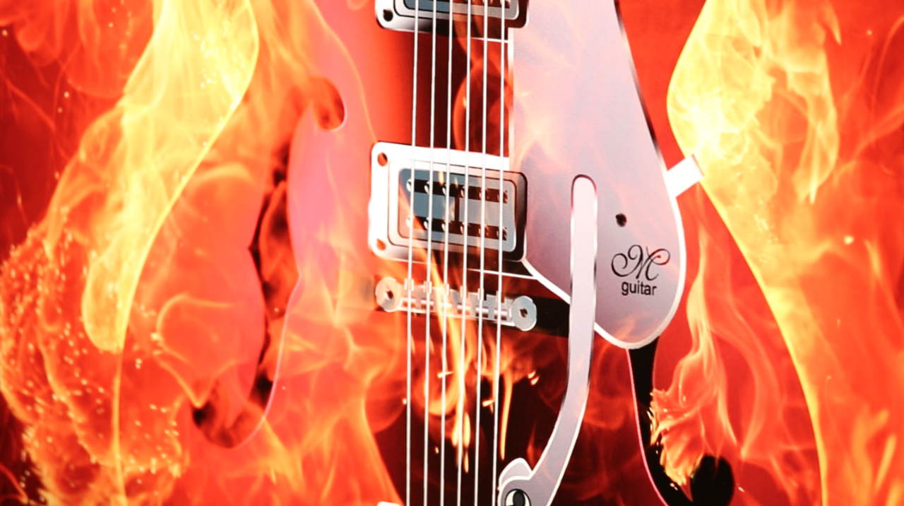 Thin ink layer technology - guitar on fire
