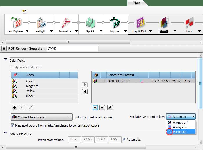 Apogee Prepress separation settings