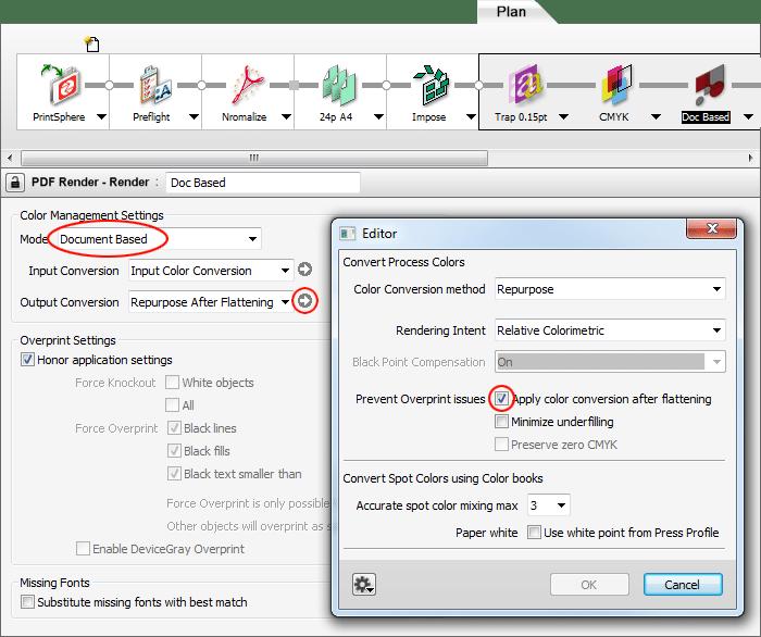 Apogee Prepress PDF Render settings