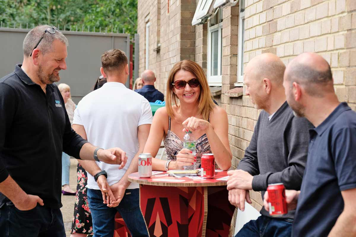 chat during Agfa UK BBQ