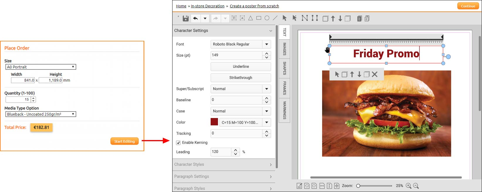 Create and customize print documents online