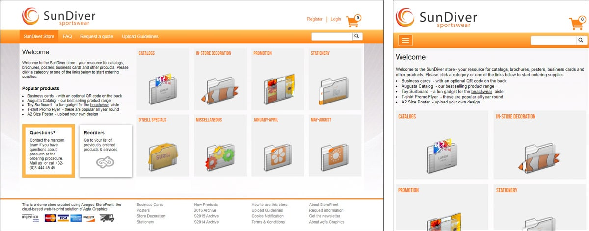 responsive web-to-print shop