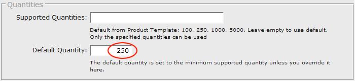 Specify the default quantity