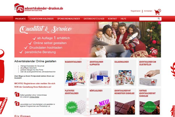 example of web-to-print shop for calendars